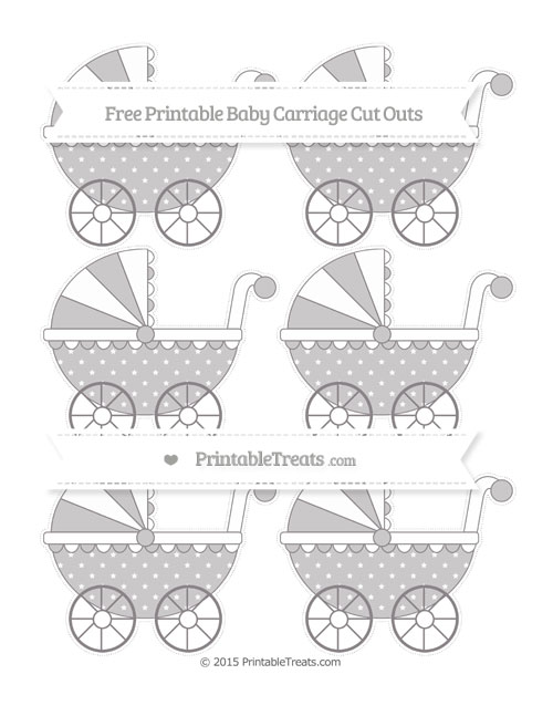 Free Taupe Grey Star Pattern Small Baby Carriage Cut Outs