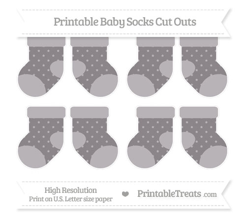 Free Taupe Grey Star Pattern Small Baby Socks Cut Outs