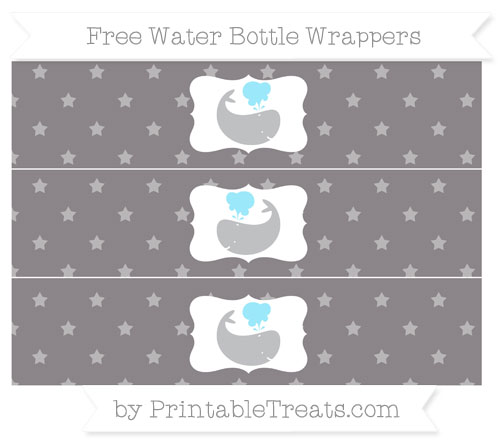 Free Taupe Grey Star Pattern Whale Water Bottle Wrappers
