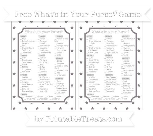 Free Taupe Grey Star Pattern What's in Your Purse Baby Shower Game