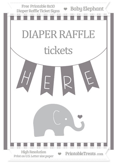 Free Taupe Grey Striped Baby Elephant 8x10 Diaper Raffle Ticket Sign