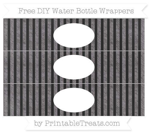 Free Taupe Grey Striped Chalk Style DIY Water Bottle Wrappers