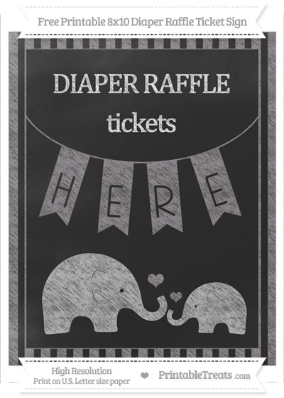 Free Taupe Grey Striped Chalk Style Elephant 8x10 Diaper Raffle Ticket Sign