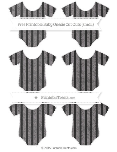 Free Taupe Grey Striped Chalk Style Small Baby Onesie Cut Outs