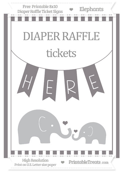 Free Taupe Grey Striped Elephant 8x10 Diaper Raffle Ticket Sign
