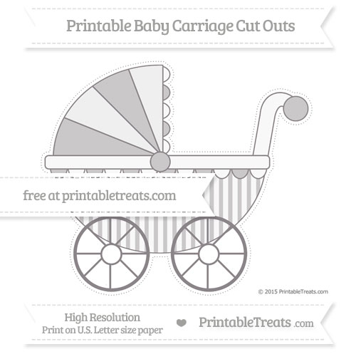 Free Taupe Grey Striped Extra Large Baby Carriage Cut Outs