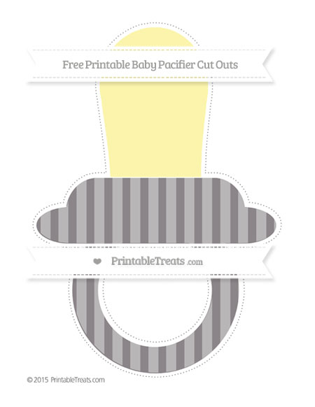 Free Taupe Grey Striped Extra Large Baby Pacifier Cut Outs