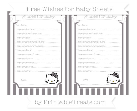 Free Taupe Grey Striped Hello Kitty Wishes for Baby Sheets