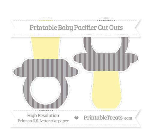 Free Taupe Grey Striped Large Baby Pacifier Cut Outs