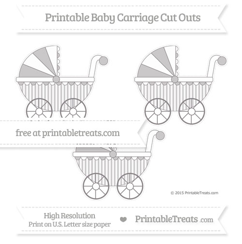 Free Taupe Grey Striped Medium Baby Carriage Cut Outs