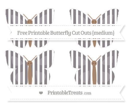 Free Taupe Grey Striped Medium Butterfly Cut Outs