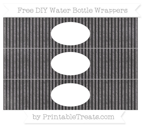 Free Taupe Grey Thin Striped Pattern Chalk Style DIY Water Bottle Wrappers