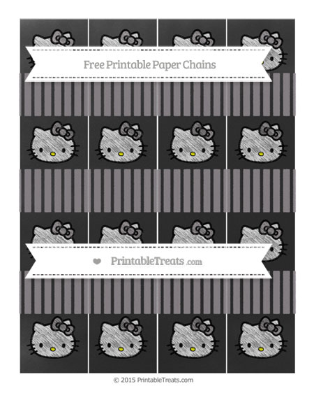 Free Taupe Grey Thin Striped Pattern Chalk Style Hello Kitty Paper Chains