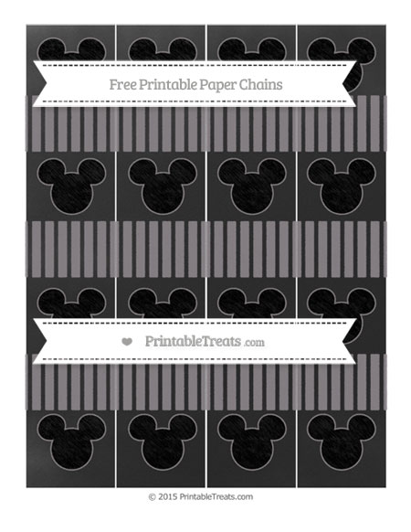 Free Taupe Grey Thin Striped Pattern Chalk Style Mickey Mouse Paper Chains