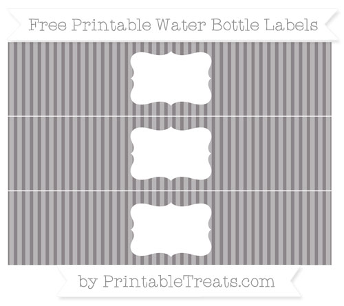 Free Taupe Grey Thin Striped Pattern Water Bottle Labels