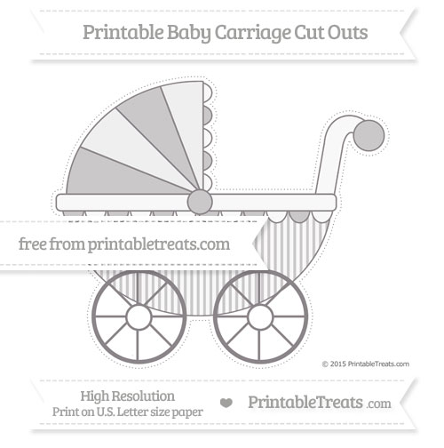 Free Taupe Grey Thin Striped Pattern Extra Large Baby Carriage Cut Outs