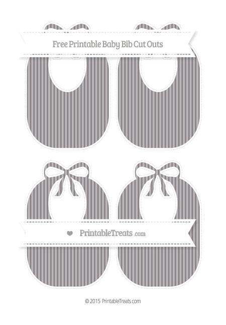 Free Taupe Grey Thin Striped Pattern Medium Baby Bib Cut Outs