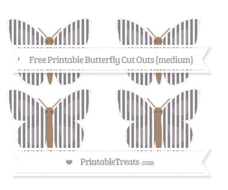 Free Taupe Grey Thin Striped Pattern Medium Butterfly Cut Outs