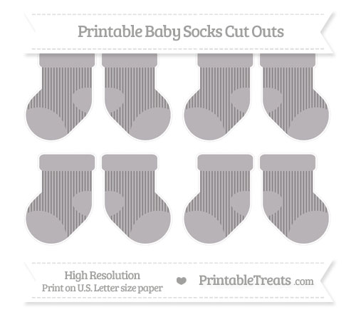 Free Taupe Grey Thin Striped Pattern Small Baby Socks Cut Outs