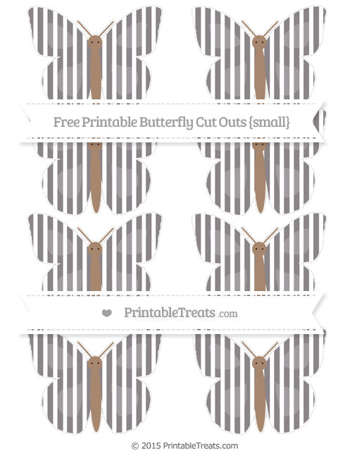 Free Taupe Grey Thin Striped Pattern Small Butterfly Cut Outs