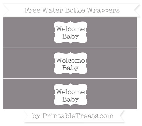 Free Taupe Grey Welcome Baby Water Bottle Wrappers