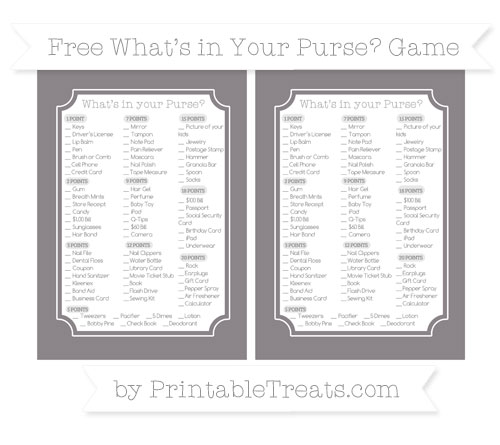 Free Taupe Grey What's in Your Purse Baby Shower Game
