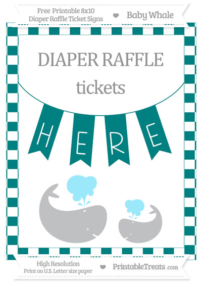 Free Teal Checker Pattern Baby Whale 8x10 Diaper Raffle Ticket Sign