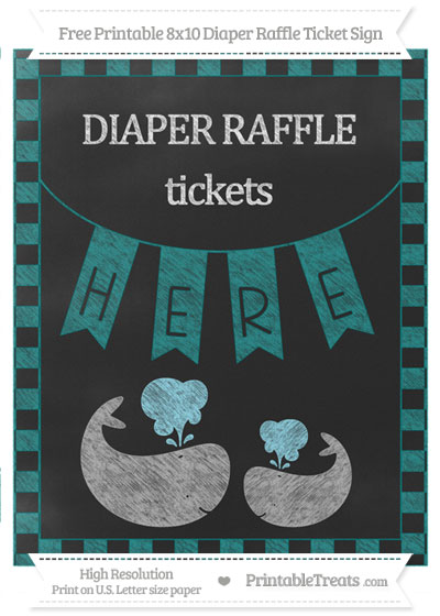 Free Teal Checker Pattern Chalk Style Baby Whale 8x10 Diaper Raffle Ticket Sign
