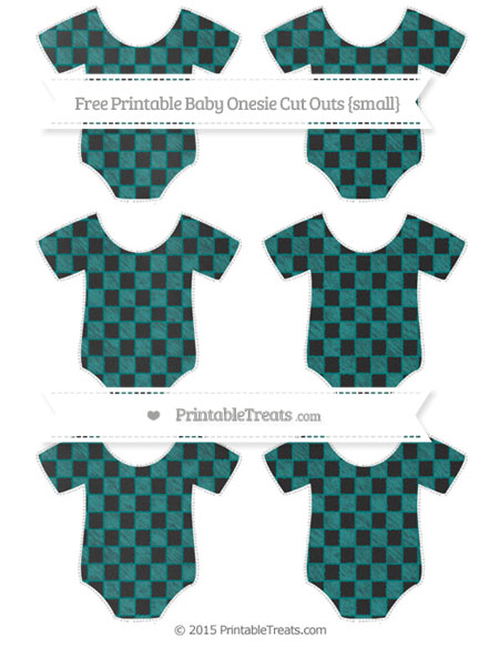 Free Teal Checker Pattern Chalk Style Small Baby Onesie Cut Outs