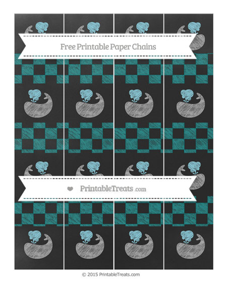 Free Teal Checker Pattern Chalk Style Whale Paper Chains