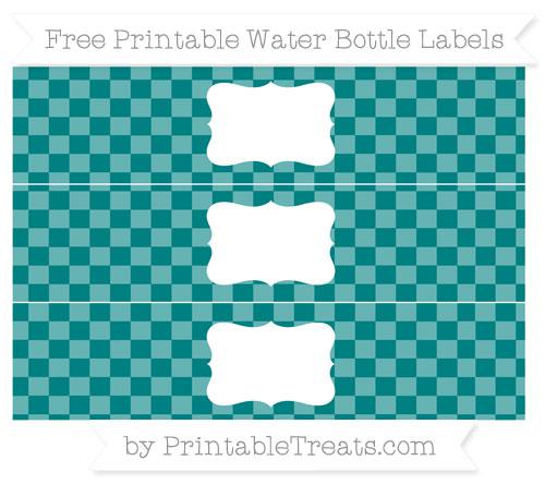 Free Teal Checker Pattern Water Bottle Labels