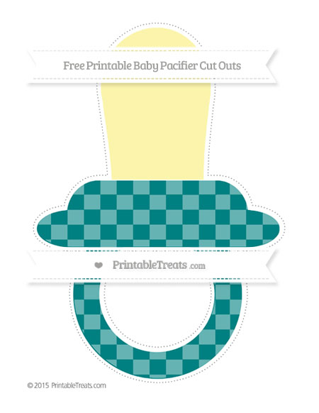 Free Teal Checker Pattern Extra Large Baby Pacifier Cut Outs