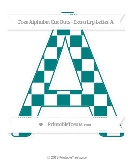 Free Teal Checker Pattern Extra Large Capital Letter A Cut Outs