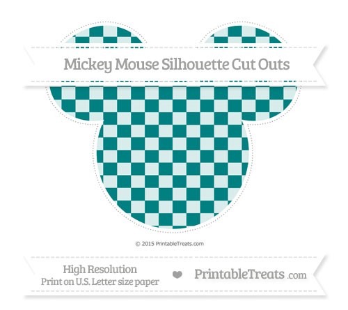 Free Teal Checker Pattern Extra Large Mickey Mouse Silhouette Cut Outs
