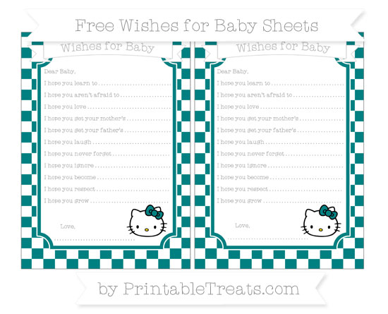 Free Teal Checker Pattern Hello Kitty Wishes for Baby Sheets