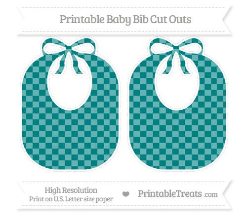 Free Teal Checker Pattern Large Baby Bib Cut Outs