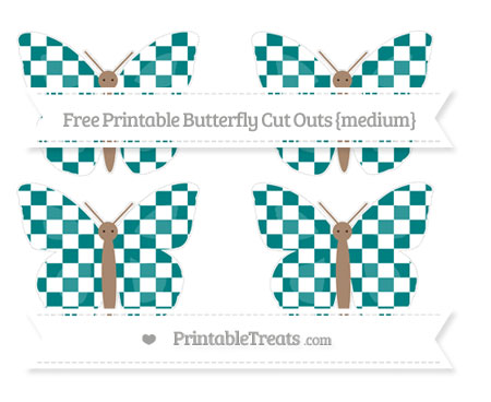Free Teal Checker Pattern Medium Butterfly Cut Outs