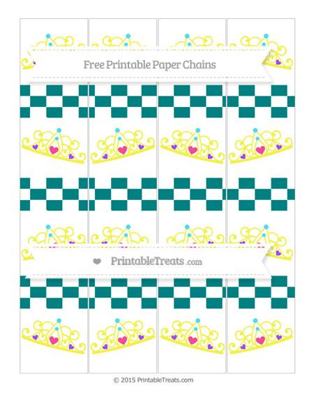 Free Teal Checker Pattern Princess Tiara Paper Chains