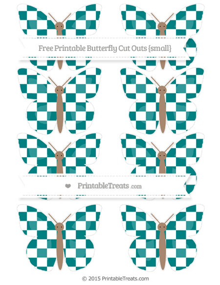 Free Teal Checker Pattern Small Butterfly Cut Outs