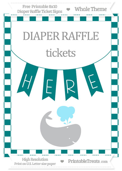 Free Teal Checker Pattern Whale 8x10 Diaper Raffle Ticket Sign