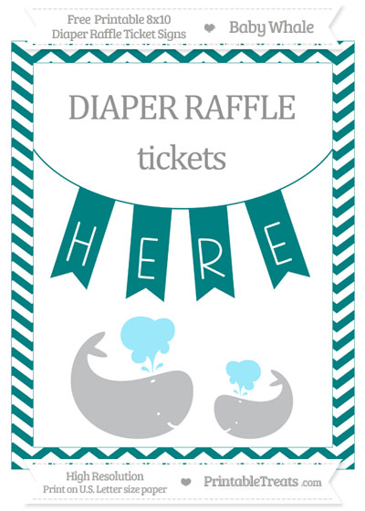 Free Teal Chevron Baby Whale 8x10 Diaper Raffle Ticket Sign