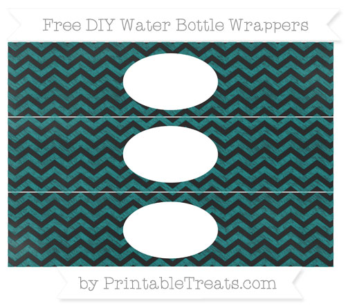 Free Teal Chevron Chalk Style DIY Water Bottle Wrappers