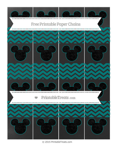 Free Teal Chevron Chalk Style Mickey Mouse Paper Chains