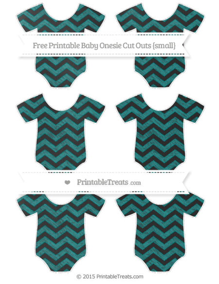 Free Teal Chevron Chalk Style Small Baby Onesie Cut Outs