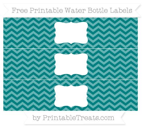 Free Teal Chevron Water Bottle Labels
