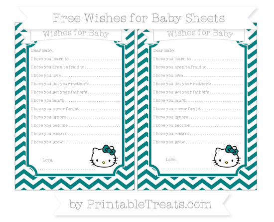Free Teal Chevron Hello Kitty Wishes for Baby Sheets