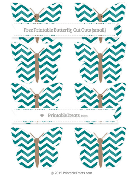 Free Teal Chevron Small Butterfly Cut Outs