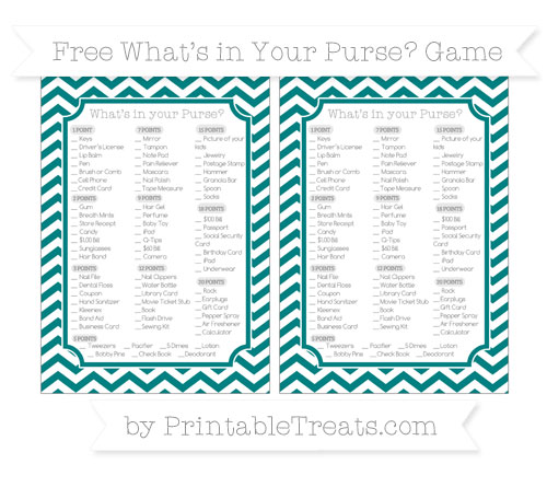 Free Teal Chevron What's in Your Purse Baby Shower Game