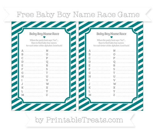 Free Teal Diagonal Striped Baby Boy Name Race Game