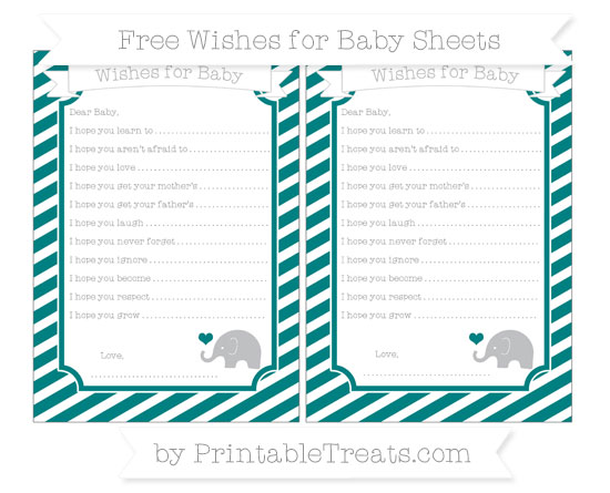Free Teal Diagonal Striped Baby Elephant Wishes for Baby Sheets